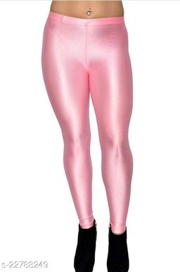 BEST SELLING WOMEN SKINY SHINING LEGGINGS BABY PINK