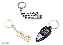 Drive Safe, I need you here with me Metal and multicolored LED light key chains, Combo pack of 3 keychains