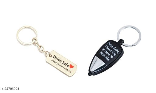 Drive Safe, I need you here with me Metal and multicolored LED light key chain, Combo pack of 2 keychains