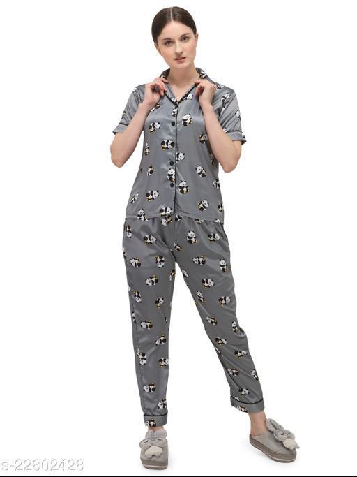 Sweattire Women's Printed Silk Satin Night Suit Set With Payjama