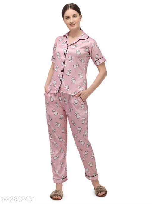 Sweattire Women's Printed Silk Satin Night Suit Set Night Dress
