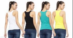 Women Pack of 4 Beige Cotton Linen Camisoles