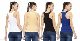 Women Pack of 4 Khaki Crepe Camisoles