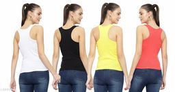 Women Pack of 4 Brown Polycotton Camisoles