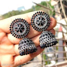 designer big silver jhumka earrings for wedding latest design party wear jhumki black color