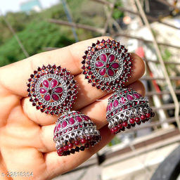 designer big silver jhumka earrings for wedding latest design party wear jhumki red color
