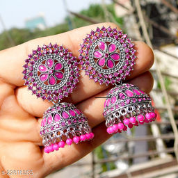 designer big silver jhumka earrings for wedding latest design party wear jhumki blue  color