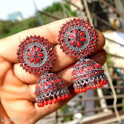 designer big silver jhumka earrings for wedding latest design party wear jhumki green color