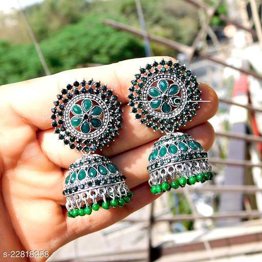 designer big silver jhumka earrings for wedding latest design party wear jhumki maroon color