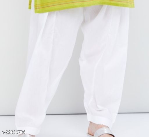 SUPERIOR QUALITY BEST SELLING WOMEN PURE COTTON PATIALA SALWAR WHITE