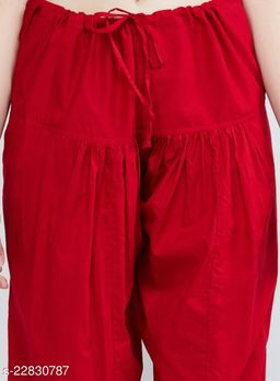 SUPERIOR QUALITY BEST SELLING WOMEN PURE COTTON PATIALA SALWAR RED