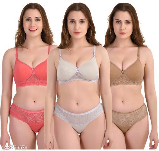 Women's Self-Design Cotton Blend Lingerie Sets