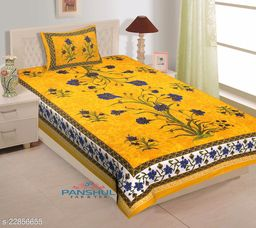 Single-bed Cotton bedsheet with high quality colors and soft fabric.