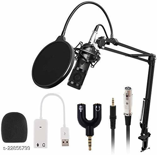 Bm 800 Professional Condenser Microphone for Computer Audio Studio Recording Vocal Karaoke Interview Microphone Kit with Microphone Stand (Black)