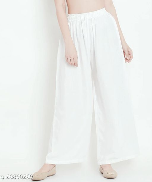 SUPERIOR QUALITY BEST SELLING WOMEN PURE COTTON PALAZZO OFF WHITE