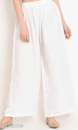 SUPERIOR QUALITY BEST SELLING WOMEN PURE COTTON PALAZZO WHITE