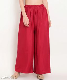 SUPERIOR QUALITY BEST SELLING WOMEN PURE COTTON PALAZZO RED