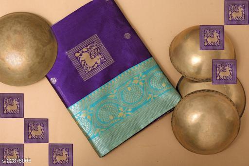 FENCY JACQUARD SAREE soft silk(Purple,Aqwa & Golden Color saree With Purple Blouse)