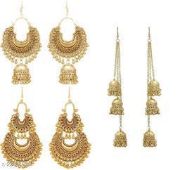 Samridhi DC Combo pack of 3 golden Earrings