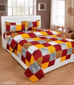 120 TC Polycotton Double 3D Printed Bedsheet -Multicolor-5