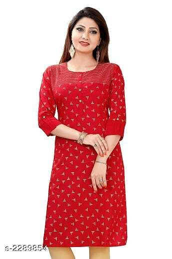 Kurtis & Kurtas Party Wear Women's Kurti  *Fabric* Cotton Silk  *Sleeves* Sleeves Are Included  *Size* M - 36 in, L - 38 in, XL - 42 in, XXL - 46 in  *Length* Up To 44 in  *Type* Stitched  *Description* It Has 1 Piece Of Women's Kurti  *Work* Printed  *Sizes Available* XXXL   Supplier Rating: ★4.3 (72) SKU: D0581 Free shipping is available for this item. Pkt. Weight Range: 300  Catalog Name: Jivika Party Wear Printed Women's Kurtis - Amba Ethnic Center Code: 547-2289854--