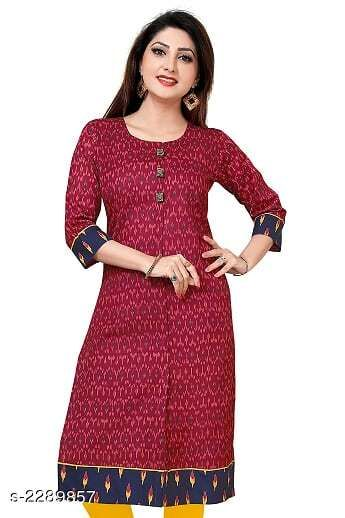 Kurtis & Kurtas Party Wear Women's Kurti  *Fabric* Cotton  *Sleeves* Sleeves Are Included  *Size* M - 36 in, L - 38 in, XL - 42 in, XXL - 46 in  *Length* Up To 44 in  *Type* Stitched  *Description* It Has 1 Piece Of Women's Kurti  *Work* Printed  *Sizes Available* L, XXL   Supplier Rating: ★4.3 (72) SKU: D0587 Free shipping is available for this item. Pkt. Weight Range: 300  Catalog Name: Jivika Party Wear Printed Women's Kurtis - Amba Ethnic Center Code: 967-2289857--
