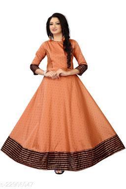 Orange Satin Silk Designer Gown