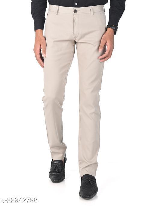 Trendy Slim Fit Men Classic Cream Cotton Lycra Chinos Pants