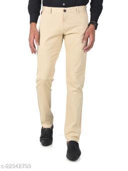 Trendy Slim Fit Men Beige Cotton Lycra Casual Trousers