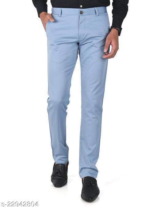 Trendy Slim Fit Men Light Blue Cotton Lycra Chinos Pants