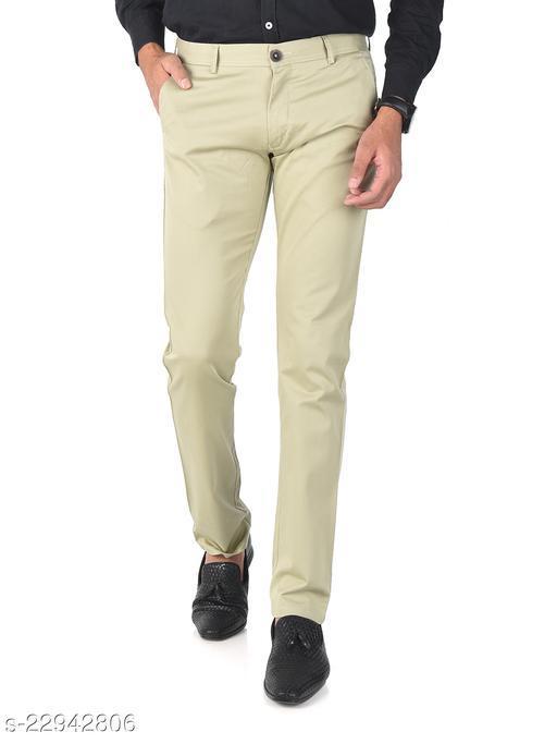 Trendy Slim Fit Men Greenish Cream Cotton Lycra Casual Trousers