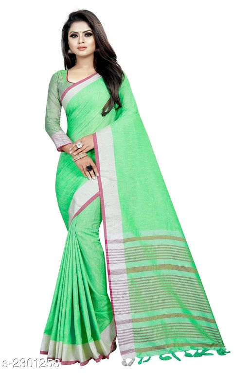 Sarees  Stylish Occasion Cotton Women's saree  *Fabric* Saree - Cotton , Blouse - Cotton  *Size* Saree Length - 5.2 Mtr, Blouse Length - 0.8 Mtr  *Work * Tassel Work  *Sizes Available* Free Size *    Catalog Name: Comfy Solid Cotton Sarees with Tassels and Latkans CatalogID_306865 C74-SC1004 Code: 154-2301258-