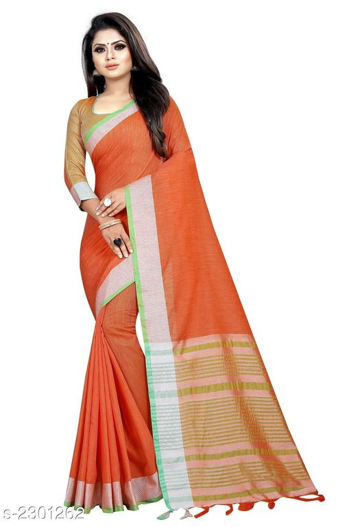 Sarees  Stylish Occasion Cotton Women's saree  *Fabric* Saree - Cotton , Blouse - Cotton  *Size* Saree Length - 5.2 Mtr, Blouse Length - 0.8 Mtr  *Work * Tassel Work  *Sizes Available* Free Size *    Catalog Name: Comfy Solid Cotton Sarees with Tassels and Latkans CatalogID_306865 C74-SC1004 Code: 154-2301262-