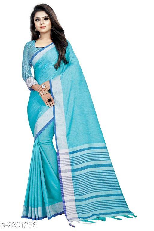 Sarees  Stylish Occasion Cotton Women's saree  *Fabric* Saree - Cotton , Blouse - Cotton  *Size* Saree Length - 5.2 Mtr, Blouse Length - 0.8 Mtr  *Work * Tassel Work  *Sizes Available* Free Size *    Catalog Name: Comfy Solid Cotton Sarees with Tassels and Latkans CatalogID_306865 C74-SC1004 Code: 154-2301266-