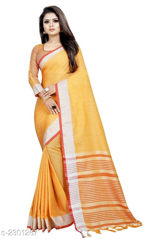 Sarees  Stylish Occasion Cotton Women's saree  *Fabric* Saree - Cotton , Blouse - Cotton  *Size* Saree Length - 5.2 Mtr, Blouse Length - 0.8 Mtr  *Work * Tassel Work  *Sizes Available* Free Size *    Catalog Name: Comfy Solid Cotton Sarees with Tassels and Latkans CatalogID_306865 C74-SC1004 Code: 154-2301267-