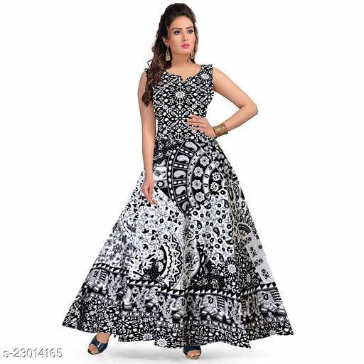 Trendy Casual Cotton Black & White Maxi Dress