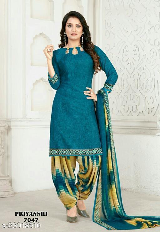 Fab Kudi Blue Crepe Printed Unstitched Salwar Suit Material