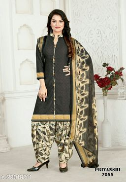 Fab Kudi Charcoal Crepe Printed Unstitched Salwar Suit Material