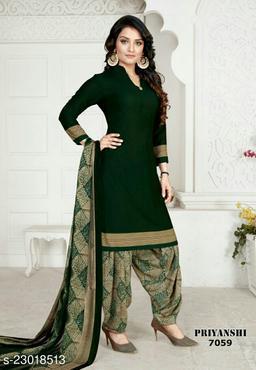 Fab Kudi Dark Green Crepe Printed Unstitched Salwar Suit Material