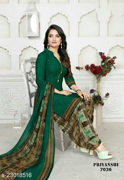 Fab Kudi Green Crepe Printed Unstitched Salwar Suit Material