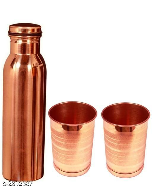 Water Bottle  & Glass (Pack Of 3)