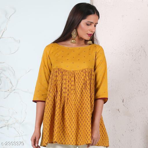 Yellow Cotton Gathered Tunic