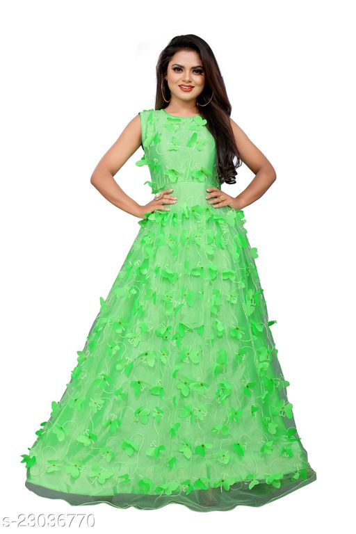 Net Embroidery Semi-Stitched Gown (Parrot_Free Size)Ave