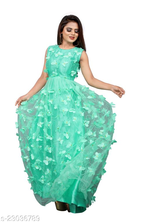Net Embroidery Semi-Stitched Gown (Pista_Free Size)Ave