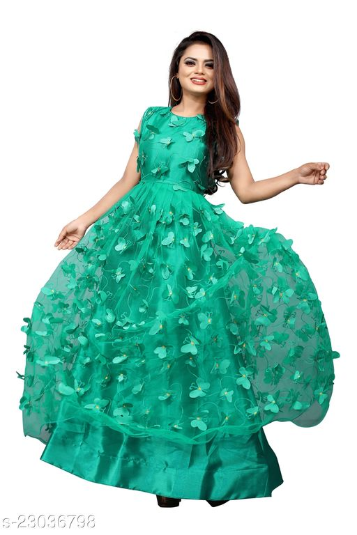 Net Embroidery Semi-Stitched Gown (Rama_Free Size)Ave