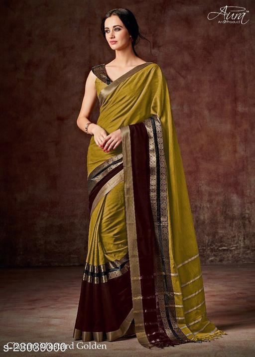 Indira Fashion Cotton Blend Yellow plain Saree (Cotton Blend Yellow)