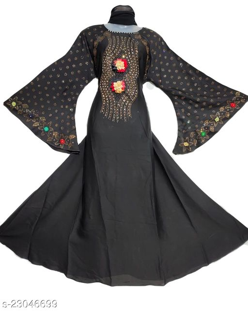 Front 2 Flower Abaya With Golden Work in Al Nida Fabric