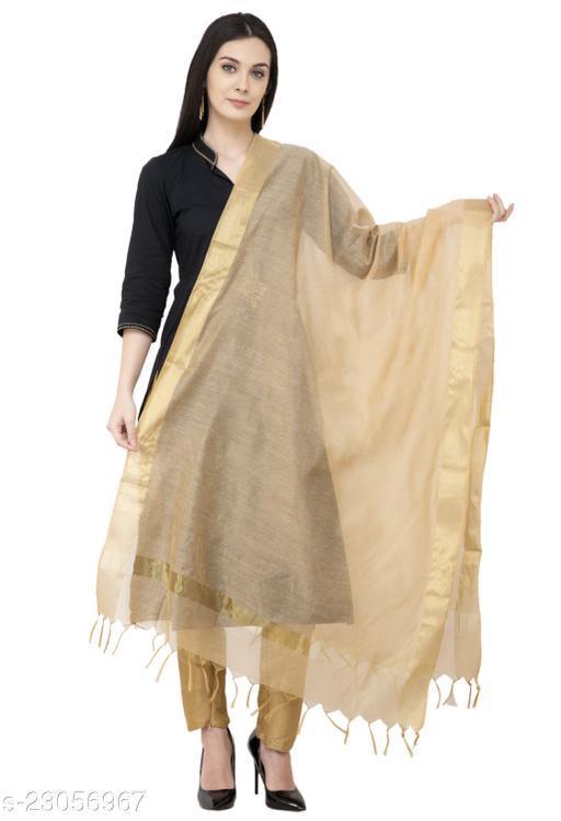 A R Silk Chanderi Chhoda Patta Regular Dupatta Golden Color Dupatta/Chunni