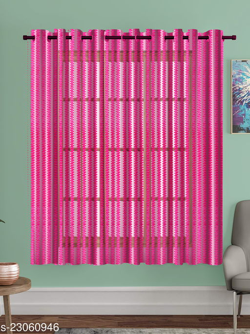 A Pink Printed Polyester Net Sheer Window Curtain(Pack of 1 )