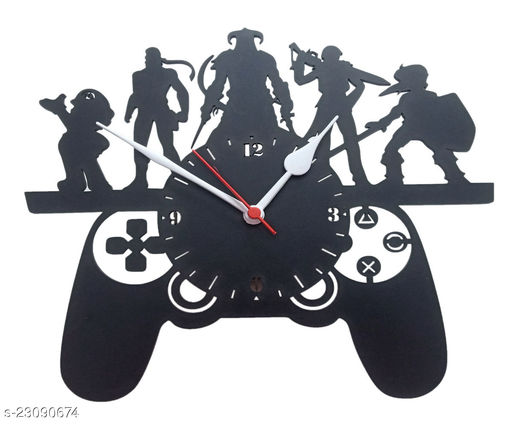 Glowbird™ Gaming Style Wooden Wall Clock (10 Inch x 10 Inch, Black)- Without Glass